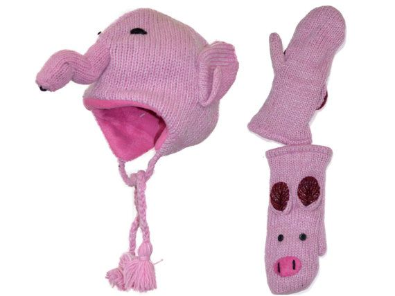 Pink elephant animal knit hat with mittens set  by HatsMittensEtc