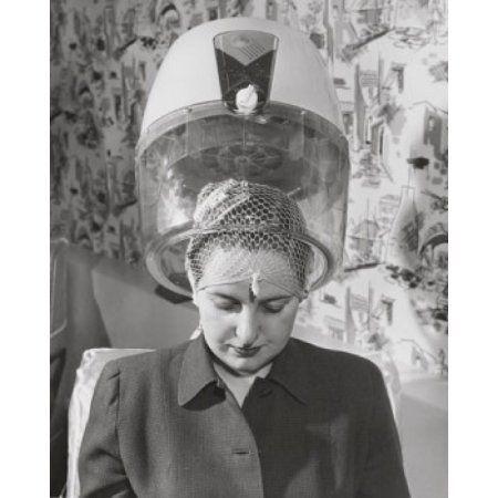 Mature woman sitting under hair dryer Canvas Art - (24 x 36)