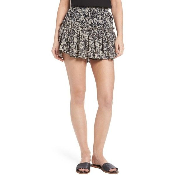 Women's Misa Los Angeles Marion Floral Print Miniskirt ($202) ❤ liked on Polyvore featuring skirts, mini skirts, short skirts, short mini skirts, short floral skirt, short tiered skirt and floral print mini skirt