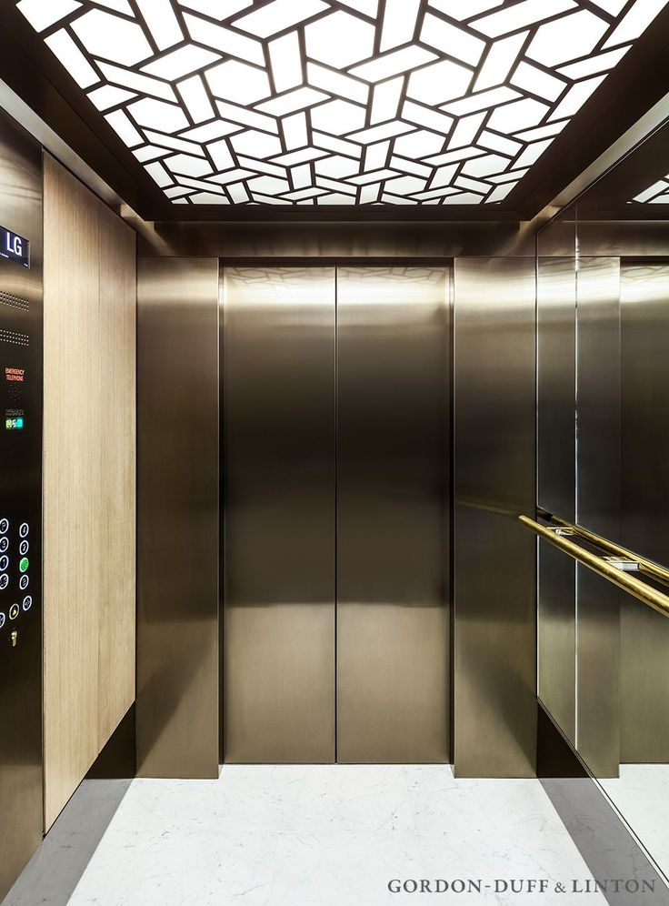 Luxury lift interior at the Maple Building featuring our bespoke ceiling detail. The pattern is used throughout the building. #GD&LBespokeFurniture