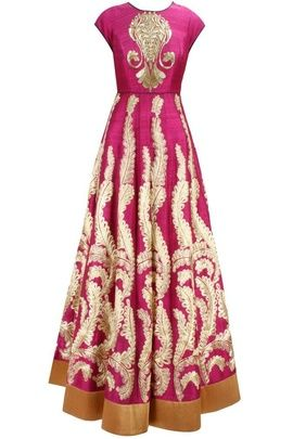Indian Wedding Suits - Hot Pink Anarkali | WedMeGood Hot Pink floor length mega sleeves anarkali suit with cream zari embroidery and gold zari embroidery on blouse, god gota border  #wedmegood #pink #anarkali #zari #gota