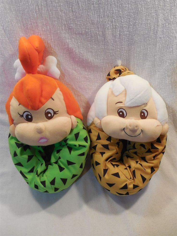 Flintstones 1994 Plush Pebbles Flintstone & Bamm-Bamm Rubble Slippers Sz L 9-10  | eBay
