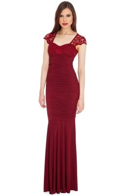 Spoločenské šaty SWEETHEART NECKLINE CAP SLEEVE EMPIRE LINE EVENING MAXI