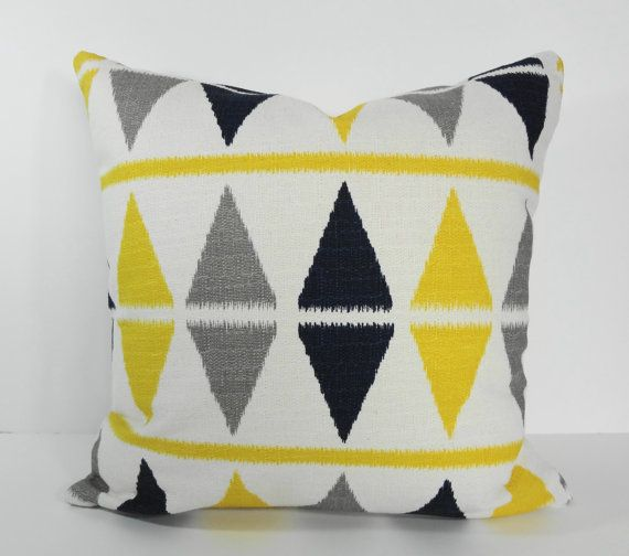 Ikat Argyle Nova Birch Decorative Pillow Cover, Yellow, Grey, Navy Blue Geometric Pillow Cushion ...