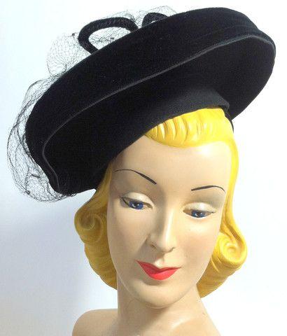 Spiderweb Veil Topped Tiered Black Tilt Hat circa 1940s - Dorothea's Closet Vintage