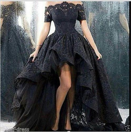 2016-Neu-Schwarz-Spitze-Hochzeitskleid-Ballkleid-Brautkleider-Abendkleid-Gr-32