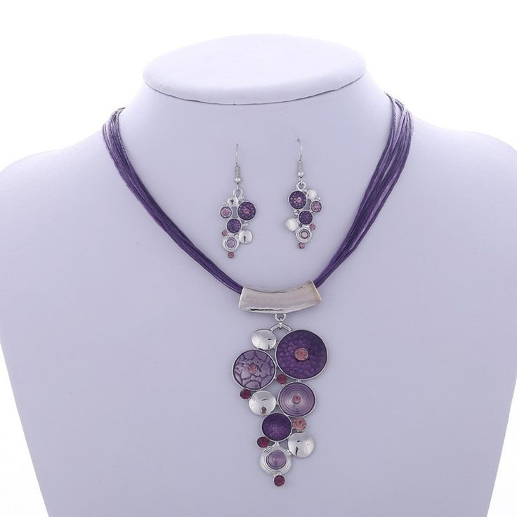 Paradise Circles Necklace & Earring Set - Purple www.evcostudio.online Tribal Jewelry Ethnic Jewellery Fashion Jewelry Women's Accessories Brown Necklace Silver Necklace Necklace & Earring Set Pendant Necklace Statement Necklace Choker Sweater Necklace Leather Purple Necklace Circle Charm Necklace