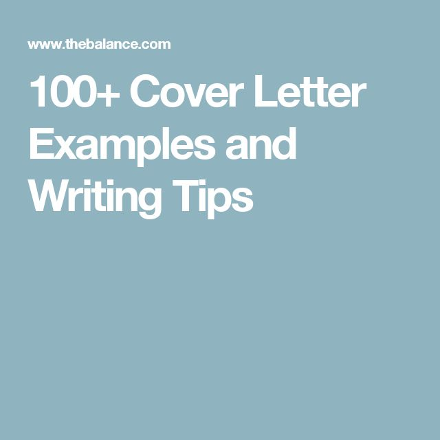 100 cover letter examples and writing tips - Resume Cover Letter Examples