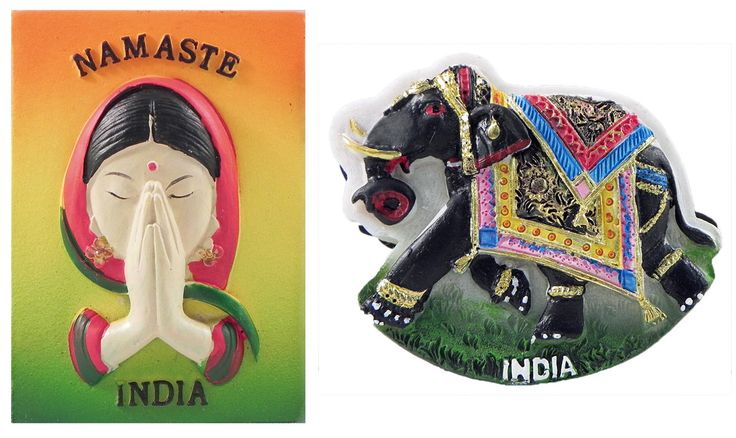 Namaste and Elephant - Set of Two Magnets (Poly Resin)