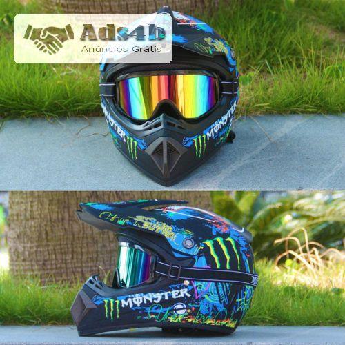 PORTES GRÁTIS Oferta dos Óculos e Luvas Tipo de Item: Capacete + Óculos + Luvas Tamanho: S, M, L, XL Material: ABS Gênero: Unissex Tipo de Capacete: Motocross Condição: 100% Novo