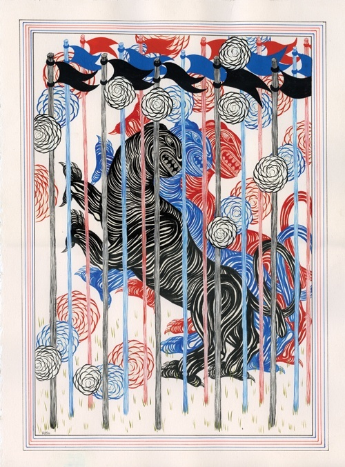 ANDREW SCHOULTZ, THREE CAGED BEASTS PRINT 2011: edition of 20; made during schoultz's sfmoma show with paul klee.: Prints 2011, Beast Prints, Editing, Cage Beast, Paper, Andrew Schoultz, Paul Klee, Three Cage, Schoultz Sfmoma
