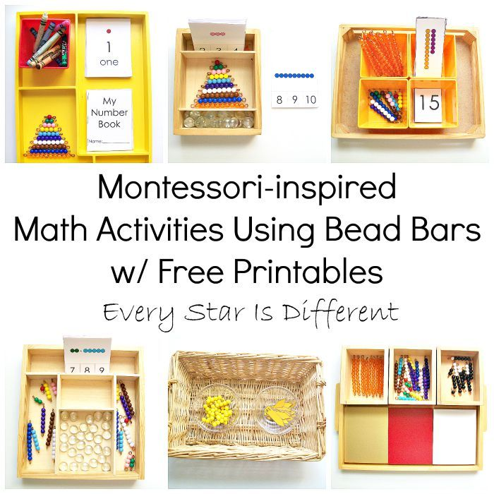 Montessori-inspired Math Activities Using Bead Bars w/ Free Printables from Every Star Is Different