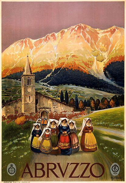 Vintage Abruzzo travel poster #Italy #tourism
