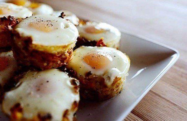 Картошка в духовке с яичницей Корзинки | Идея Меню