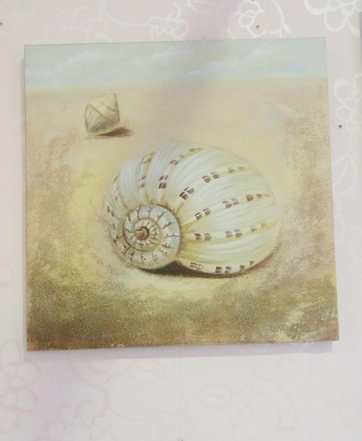 Cuadro en lona con bastidor de madera con motivo marinero! Cuadro para decorar el cuarto de baño :-)