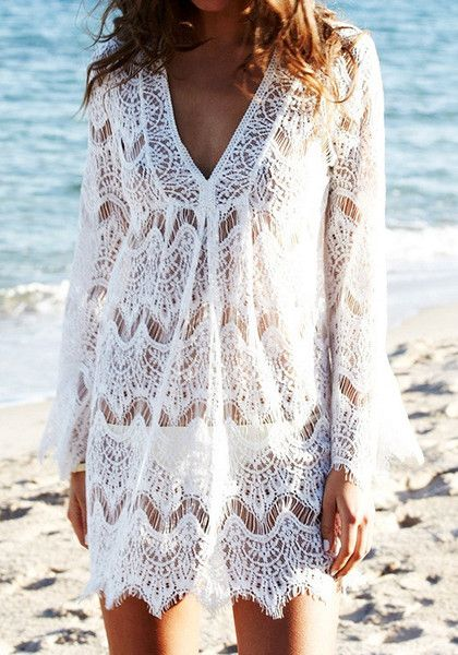 This long sleeve lace cover up is the perfect partner for a beach and pool party thanks to its loose fit style. | Lookbook Store What's New