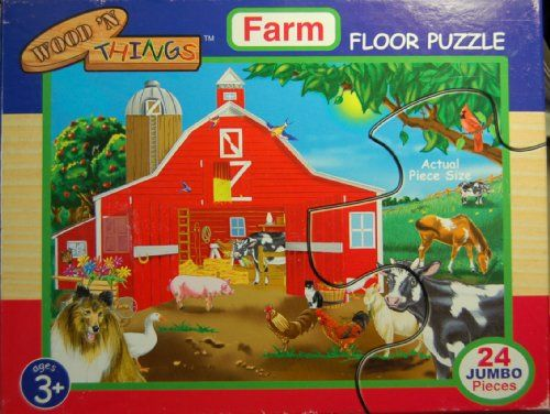 Wood 'N Things Farm Floor Puzzle 24 Pcs 2x3 Feet * This is an Amazon Affiliate link. Details can be found by clicking on the image.