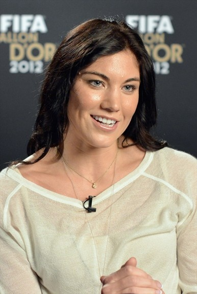 ZURICH, SWITZERLAND - JANUARY 07: American soccer player and Olympic gold medalist Hope Solo is interviewed prior to the FIFA Ballon d'Or Gala 2012 at the Kongresshaus on January 7, 2013 in Zurich, Switzerland. (Photo by Stuart Franklin - FIFA/FIFA via Getty Images)