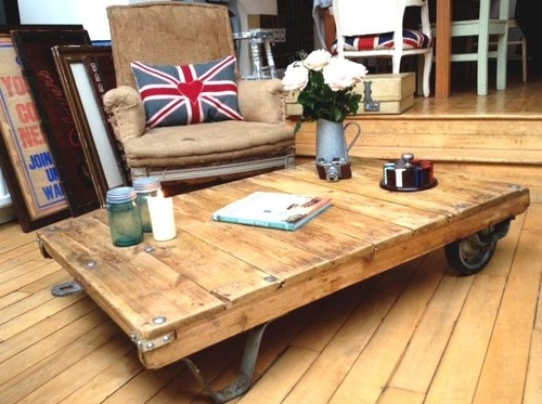 Perfect Vintage Factory Cart Coffee Table