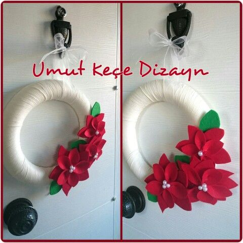 Felt, feltro, felt decoration, keçe, keçe kapı süsü, keçe çiçek, umut keçe Dizayn