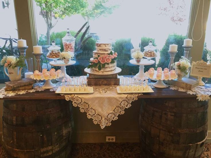 WOW!! Absolutely in love with this gorgeous rustic English Garden Baptism dessert table!! See more party ideas and share yours at CatchMyParty.com