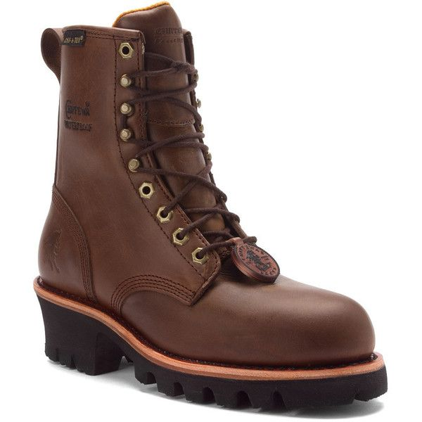 Chippewa Women's L26341 8 Inch EH ST WP Logger Boots ($180) ❤ liked on Polyvore featuring shoes, boots, bay apache, steel toe work boots, chippewa boots, leather ankle boots, work boots and lace up work boots