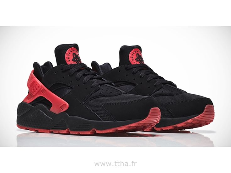 Nike Air Huarache hassent noir et rouge Love / Hate QS chaussures couple,Homme Huarache Light