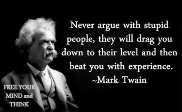 Famous Wise People | Never argue with stupid people, they will drag you down to their level ...