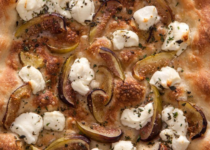 Try this easy, fresh fig and goat cheese pizza recipe. To get started you will need pizza dough, fresh figs, goat cheese, Extra-virgin olive oil, and chopped th