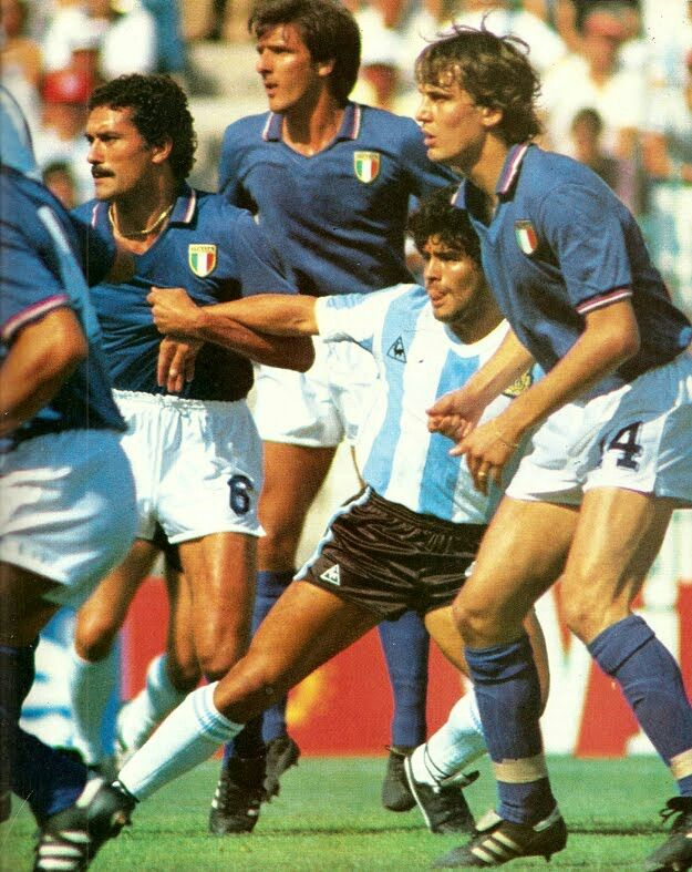 Italy 2 Argentina 1 in 1982 at Sarria Stadium, Barcelona. Claudio Gentile makes sure Diego Maradona stays with him in Round 2, Group C at the World Cup Finals.
