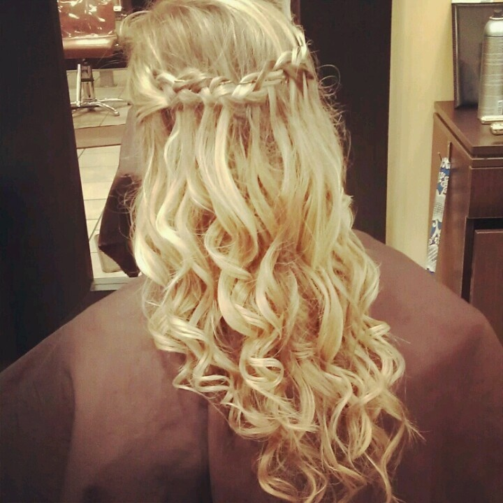 Down Curly And Waterfall Braid Prom Hair Hair And Beauty