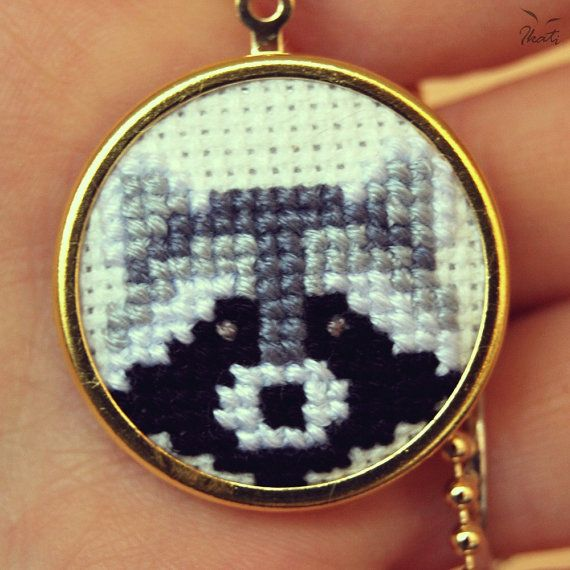 Embroidery RACCOON Necklace Cross stitch necklace by IkatiWorks