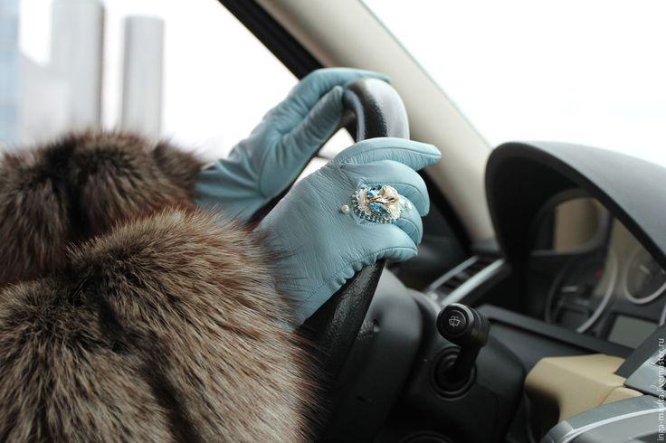 """Купить Кожаные перчатки """"La mollesse"""" - голубой, однотонный, перчатки женские, перчатки с вышивкой"""