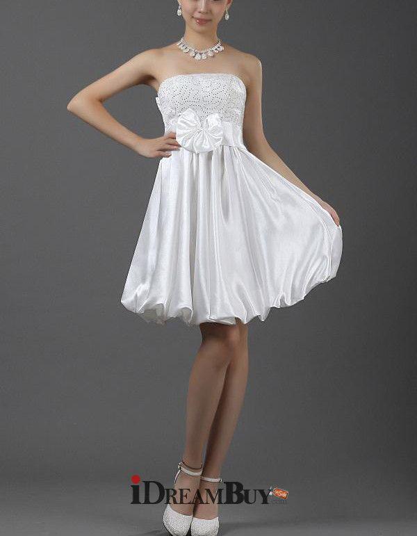 Empire Waist A-Line Strapless Short Petite Wedding Dress for Summer Beach Wedding - US$ 112.99 - iDreamBuy.com