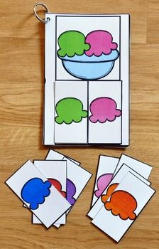 These Matching Activities: Ice Cream Match and Flip Books (What Goes Together Edition) focus on basic matching skills, and matching by component parts skills. In these activities, students work on matching halves to whole, matching part to whole, and matching numbers, and tally marks to ten frames.
