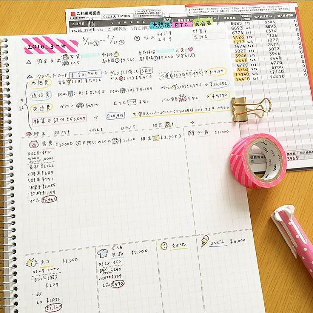 家計簿03 04 Yuikake 4月分 の家計簿 上段 今月