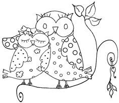 Free Cartoon Owls On Books Coloring Pages Voteforverde