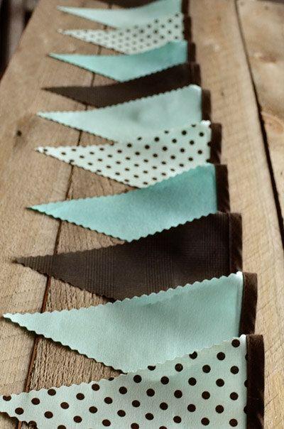 aqua and brown pennant/banner