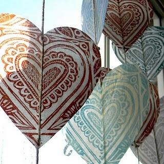 Waxed paper lino prints