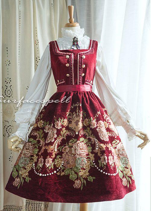 Surface Spell -Spring Flowers- Vintage Classic Lolita Jumper Dress