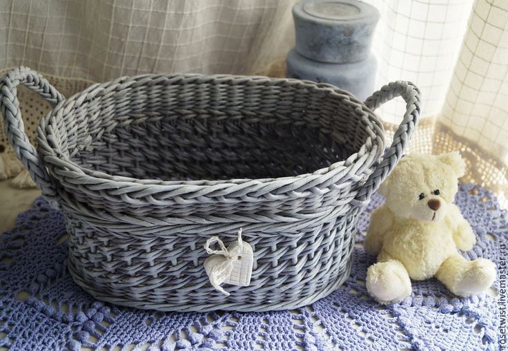 Купить Корзина плетеная Timeless - винтажный, серый, романтичный, хранение мелочей, состаренный, корзина