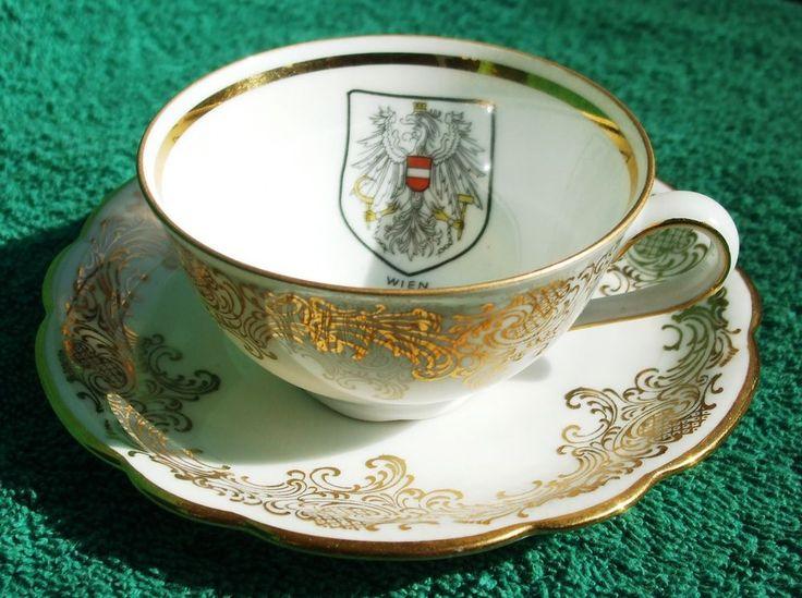 Germany Cup & Saucer Nora Seltmann Weiden Bavaria Emblem WIEN Gold very rare