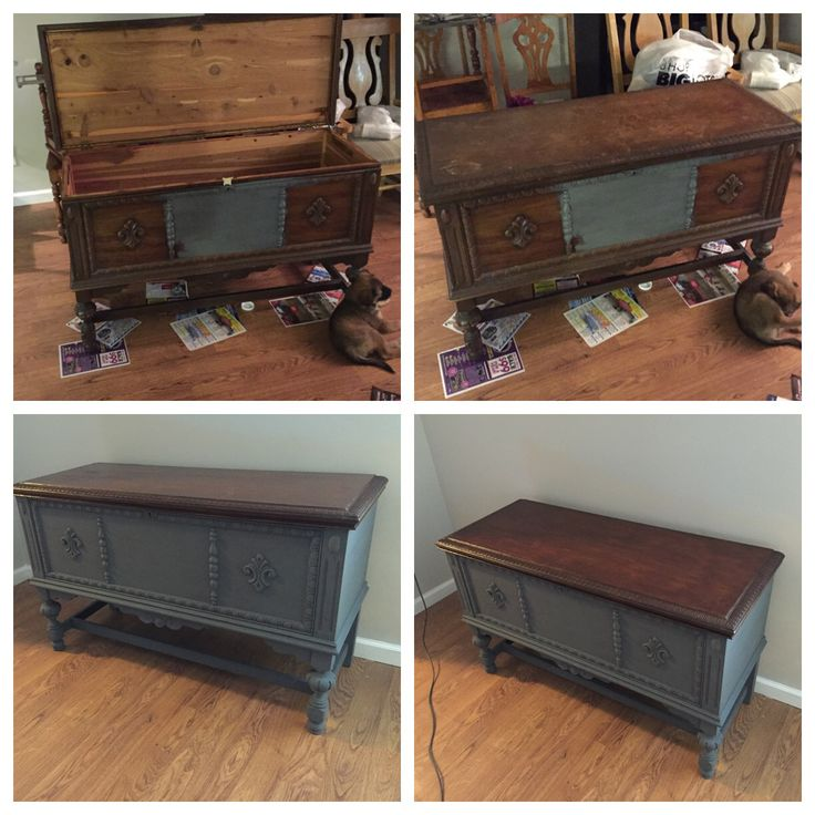 Gave this 100+ year old cedar chest a new look!!!   Painted the bottom with chalk paint and stained the top!