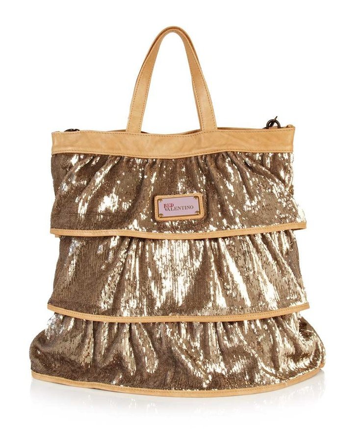 Layered sequin tote in gold  - Valentino