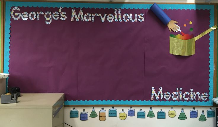 George's marvellous medicine board. Ready for the children's work!
