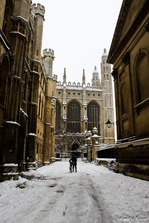 Cambridge the Beautiful City The Big Local App Just Cambridge by Emilie Foyer, via 500px. Trinity Lane, entrance to Clare at right; Trinity College Chapel in background.