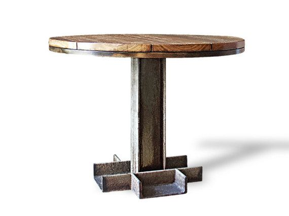 Wood Round Pub Industrial Dining Table