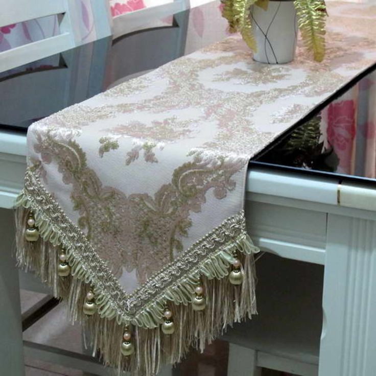 velvet table runners ornament with pearls