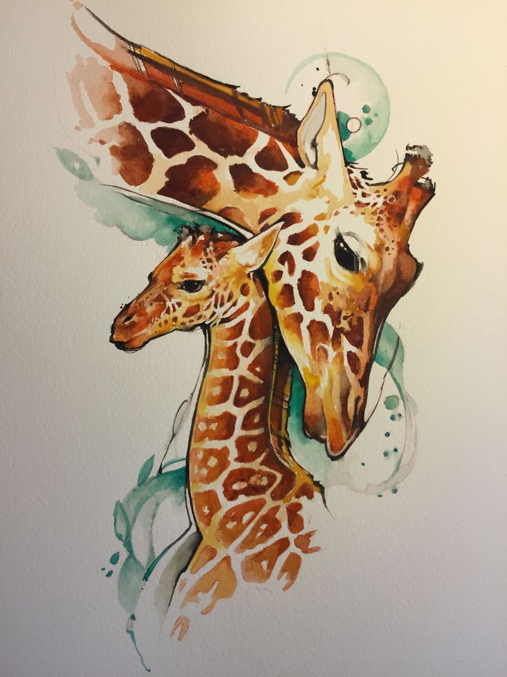 watercolor giraffes mother and baby in 2019