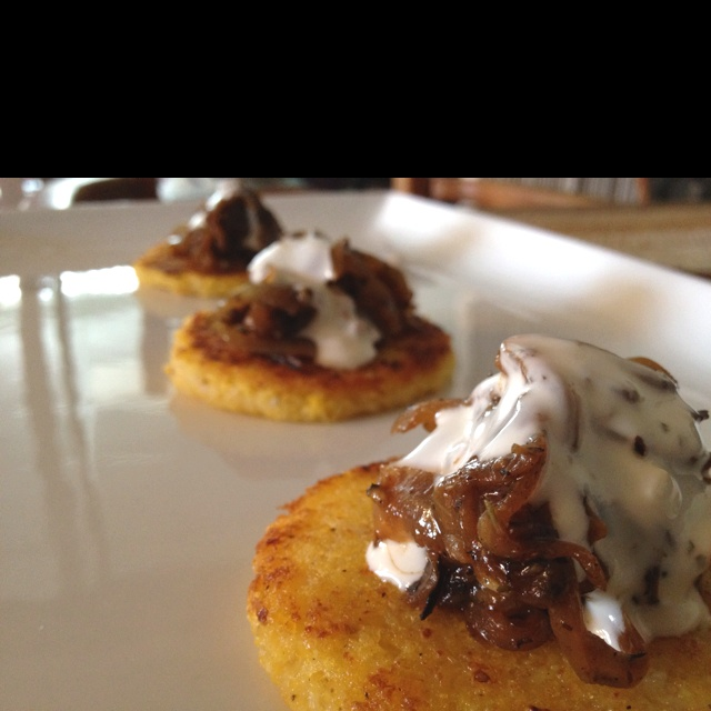 Seared Garlic Polenta / Caramelized Onion / Blue Cheese Creme